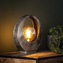 Lampe de table lune en métal finition argent vieilli