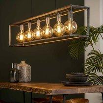Suspension 6 lampes 130x20x150 cm en métal finition argent vieilli