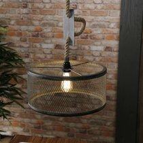 Suspension 1 lampe en maille 40x40x150 cm grise