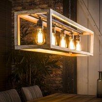 Suspension 5 lampes 125x25x150 cm en manguier naturel