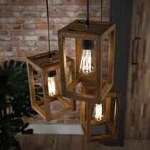 Suspension 3 lampes 30x30x150 cm en manguier naturel