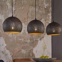 Suspension industrielle 3 lampes rondes 25 cm en métal noir - AMP