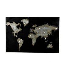 Tableau monde industriel 120x80 cm en métal noir