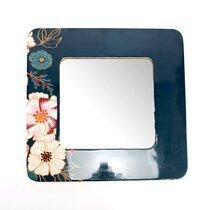 Miroir carré 50 cm en métal bleu et motif floral