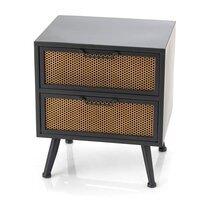 Chevet 2 tiroirs 49x41x41 cm en métal noir et marron - GRAZI