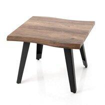 Bout de canapé carré 60x48 cm en bois marron et métal noir - JAMMY