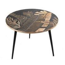 Table basse ronde 40x45 cm en bois décoré noir et naturel - DAKI