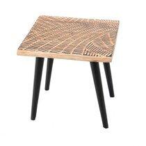 Bout de canapé carré 45x45x45 cm en bois décoré naturel et noir - DAKI