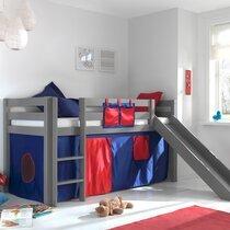 Lit surélevé 90x200 cm avec toboggan gris décor bleu et rouge - PINO