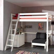 Lit surélevé 140x200 cm avec fauteuil et commode 2 portes blanc - PINO
