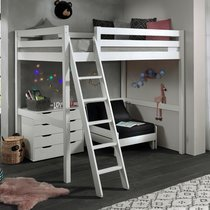 Lit surélevé 140x200 cm avec fauteuil et commode blanc - PINO