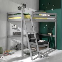 Lit surélevé 140x200 cm avec fauteuil gris - PINO