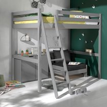 Lit surélevé 140x200 cm avec fauteuil et commode 2 portes gris - PINO