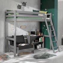Lit surélevé 90x200 cm avec fauteuil et bibliothèque gris - PINO