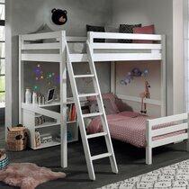 Lit surélevé 140 cm et lit bas 90 cm et bibliothèque blanc - PINO