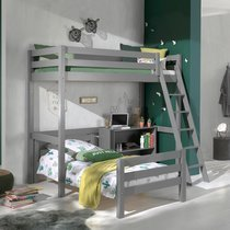 Lit surélevé et lit bas 90x200 cm avec bibliothèque gris - PINO