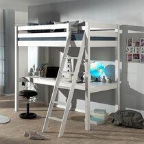 Lit surélevé 90x200 cm avec bureau blanc - PINO