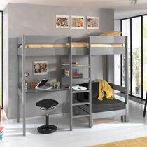 Lit surélevé 90x200 cm avec fauteuil et bureau gris - PINO