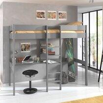 Lit surélevé 90x200 cm échelle centrale et bureau gris - PINO