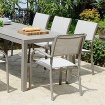 Lot de 4 chaises de jardin en aluminium et PVC taupe - SIENA