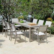 Ensemble table et 6 chaises de jardin en aluminium taupe - SIENA