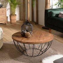 Table basse coque noire 80x80 cm en teck recyclé - APPOLINE
