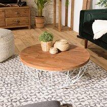 Table basse coque blanche 80x80 cm en teck recyclé - APPOLINE