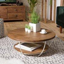 Table basse blanche double plateau 80 cm en teck recyclé - APPOLINE