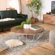 Table basse coque blanche 120x120 cm en teck recyclé - APPOLINE