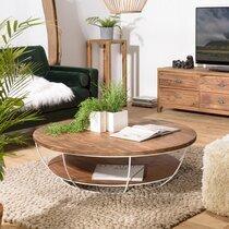 Table basse blanche double plateau 120 cm en teck recyclé - APPOLINE