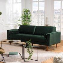 Canapé 3 places 225x93x90 cm en tissu velours côtelé vert foncé