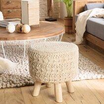 Tabouret rond 40x40x41 cm en laine ivoire et pieds bois - TRACY