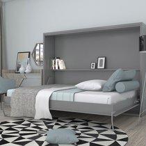 Lit escamotable 140x200 cm gris - BELAJA