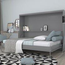 Lit escamotable 160x200 cm gris - BELAJA