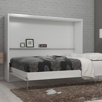 Lit escamotable 160x200 cm blanc - BELAJA