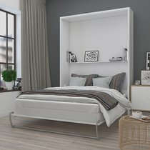 Lit escamotable vertical 160x200 cm blanc - AVELINO