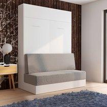 Lit escamotable 140x200 cm blanc + canapé gris - NEYRAS