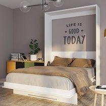 Lit escamotable vertical 140x200 cm blanc - VIARDO