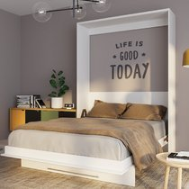 Lit escamotable vertical 160x200 cm blanc - VIARDO