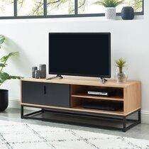 Meuble TV industriel 120x40x42 cm décor naturel et métal noir