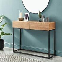 Console 2 tiroirs 100x30x75 cm décor naturel et métal noir