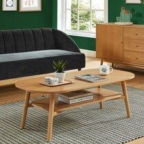 Table basse 120x60x40 cm double plateau décor chêne