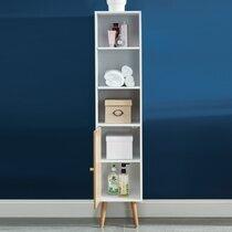 Colonne de rangement 30x29,5x139 cm décor blanc et naturel - GEONA