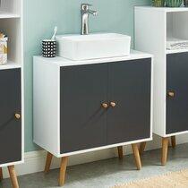 Meuble sous lavabo 60x29,5x65 cm décor blanc et gris - GEONA