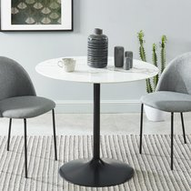 Table à manger ronde 90x76 cm décor marbre et pied noir
