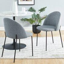 Lot de 2 chaises repas 51x52x79 cm en tissu gris et pieds noirs