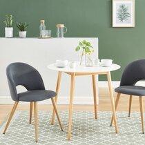 Lot de 2 chaises repas 50x60,5x77 cm en tissu gris et pieds naturels