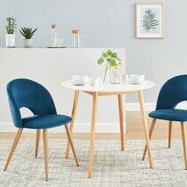 Lot de 2 chaises repas 50x60,5x77 cm en tissu bleu et pieds naturels