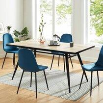 Lot de 4 chaises repas en velours bleu et pieds noirs - RIODA