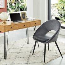 Chaise repas 62,5x56x83 cm en velours gris et pieds noirs